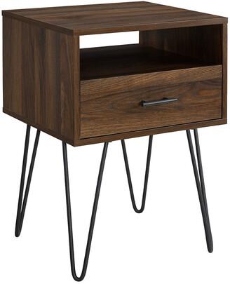 Hewson 18In Modern Single Drawer Hairpin Leg Side Table