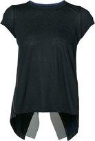 Sacai pinstripe cross back T-shirt