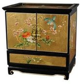 Oriental Furniture Best Luxury Anniversary Gift Ideas for Wife, 16-Inch Empress Fine Lacquer Jewelry Box, Gold