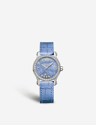 Chopard Happy Sport diamond, alligator-embossed leather and stainless steel watch
