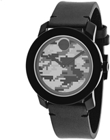 Movado Bold 3600300 Men's Black Stainless Steel and Leather Watch with Camo Dial