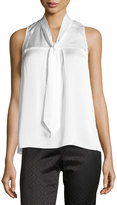 Laundry by Shelli Segal Pleated Tie-Neck Top, Warm White