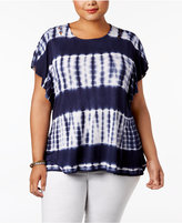 Style&Co. Style & Co Plus Size Tie-Dyed Stripe Flutter-Sleeve Top, Created for Macy's