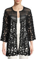 Escada Crochet-Sleeve Open-Front Cardigan