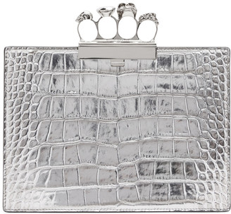 Alexander McQueen Silver Croc Small Four Ring Clutch