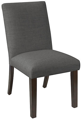One Kings Lane Erin Pleated Side Chair - Charcoal Linen - frame, espresso; upholstery, charcoal