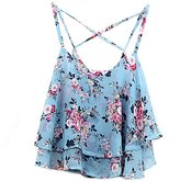 Generic Womens Spaghetti Straps Back Crossedloral Layered Chion Camisole Top