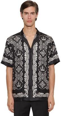 Dolce & Gabbana Bandana Print Silk Twill Bowling Shirt