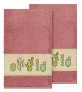 Linum Home Mila 2-Pc. Embroidered Turkish Cotton Bath Towel Set Bedding
