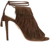 Aquazzura Pocahontas Suede Fringe Sandals: Chocolate
