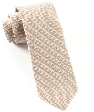 Tie Bar Wool Herringbone Khaki Tie