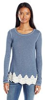 Jolt Women's Long Sleeve Scoop Neck Top with Lace Hem
