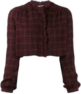 Kristina Ti Cropped Check Shirt