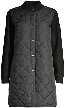 Eileen Fisher Stand Collar Quilted Wool Coat