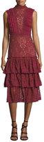 Jonathan Simkhai Mock-Neck Sleeveless Tower Mesh Lace Ruffled Dress