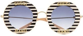 Gucci Round Logo Striped Sunglasses