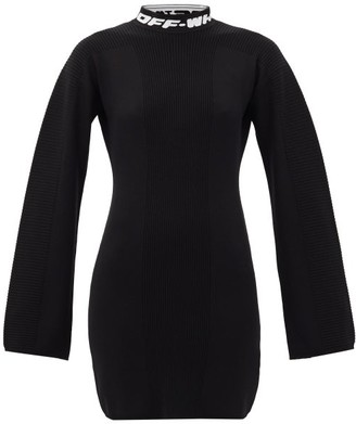 Off-White Logo-jacquard Open-back Knitted Mini Dress - Black