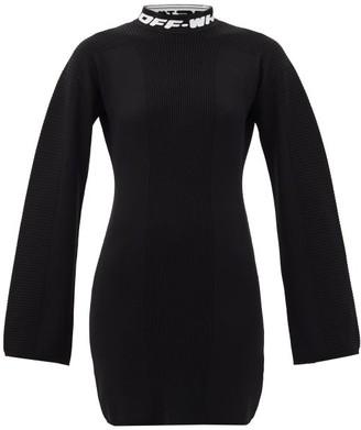 Off-White Logo-jacquard Open-back Knitted Mini Dress - Womens - Black