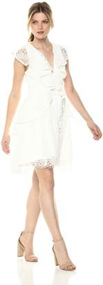 Elliatt Women's Apparel Women's Interlude Sleeveless V Neck Ruffle LACE Mini Dress