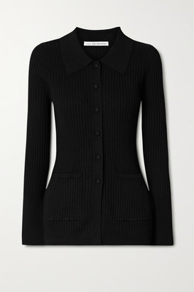 Live The Process Ribbed-knit Cardigan - Black