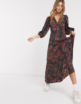 Asos DESIGN trapeze maxi dress with puff sleeve in mixed daisy print