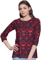 KOKOM Womens Tunic Top 3/4 Sleeve Short Kurta Kurti Indian Ethnic Blouse Gift For Her