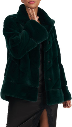 Zac Posen Diagonal Mink-Fur Jacket With Suede