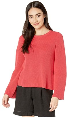 Michael Stars Vanessa Crew Neck Swing Pullover Cotton Sweater (Geranium) Women's Clothing