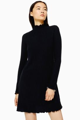 Topshop Womens Black Cut And Sew Shirred Mini Dress - Black