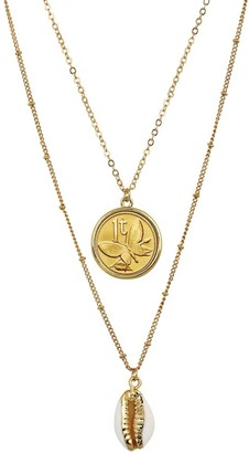 American Coin Treasures Gold Plated Butterfly Coin with Gold Trimmed Cowrie Shell Double Chain Necklace