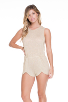 Luli Fama Golden Sugar Scalloped Romper In Gold Rush (L529863)