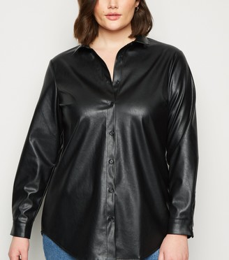 New Look Curves Leather-Look Shirt
