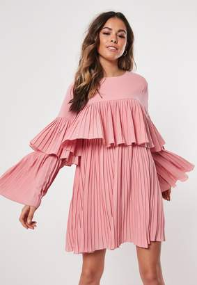 Missguided Blush Pleated Layered Smock Dress