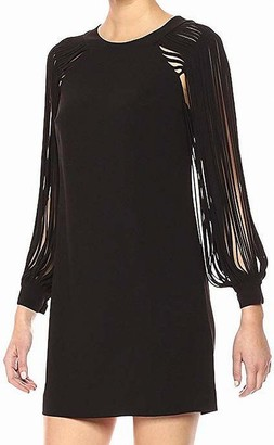 Halston Women's Multi Strip Long Sleeve Mini Dress