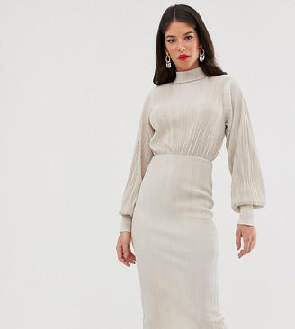 Asos Tall DESIGN Tall plisse high neck balloon sleeve open back midi dress-Cream