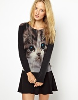 Cocoa Cashmere Cat Print Knitted Sweater in 100% Cashmere