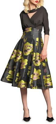 Eva Franco Angela 3/4-Sleeve Dress with Floral Organza Skirt