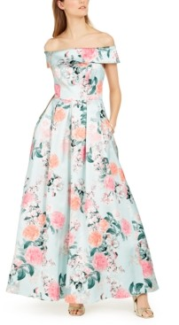 Eliza J Off-The-Shoulder Floral Gown