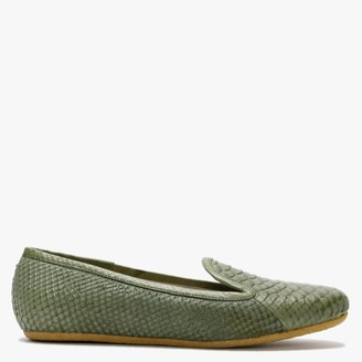 Graceful Shoes Gaby Green Reptile Leather Ballet Flats