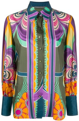 Alberta Ferretti Graphic Floral Print Silk Shirt
