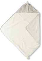 Stripes Away Cotton Hooded Towel - Pebble - Pehr - pebble/white