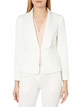 Kasper Women's Shawl Collar Strech Jacquard Fly Away Jacket