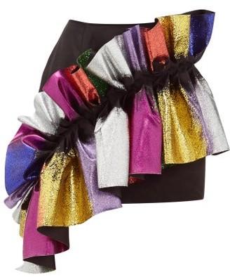 Germanier - Recycled Glitter Ruffle Satin Mini Skirt - Black Multi