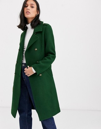 Gianni Feraud wool blend military coat with contrast piping-Green