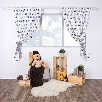 Camilla And Marc Lulando Children's Room Curtains, Two Curtains Sized 155 cm x 120 cm Each, with Two Decorative tiebacks, Oeko-Tex Standard 100 Certificate, 100% Cotton, Colour: Grey Diamonds