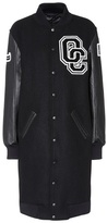 Opening Ceremony Varsity Long leather and wool-blend coat