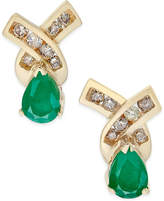 Macy's Emerald (3/4 ct. t.w.) and Diamond (1/4 ct. t.w.) Stud Earrings in 14k Gold