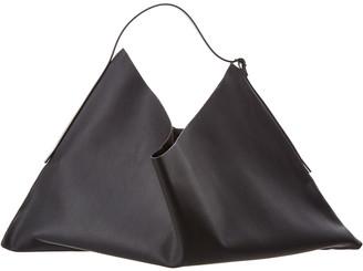 The Row Flat Small Leather Hobo Bag