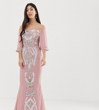 Bardot Maya Petite all over embellished maxi dress with fluted sleeves in vintage rose-Pink