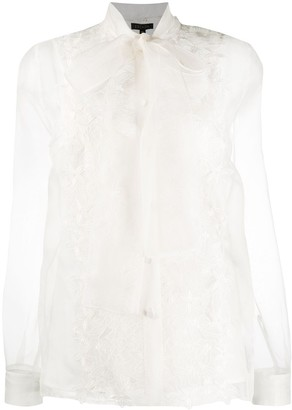 Escada Floral-Embroidered Sheer Blouse